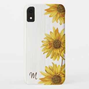 brand new 31d61 49411 Rustic Country White Wood with Sunflowers Monogram iPhone XR Case