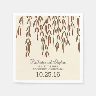 rustic country willow tree branches wedding paper napkin