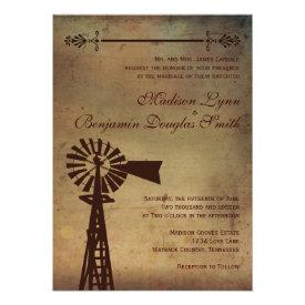 Rustic Country Windmill Farm Wedding Invitations