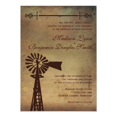 rustic country windmill wood wedding invitations | zazzle, Wedding invitations