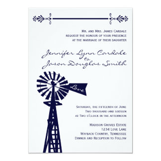 Rustic Country Windmill Navy Wedding Invitations