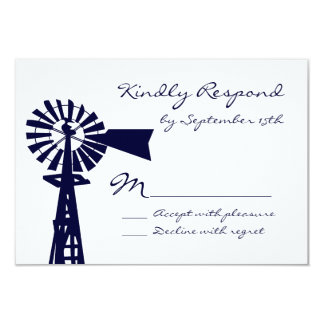 Rustic Country Windmill Navy Wedding RSVP Cards