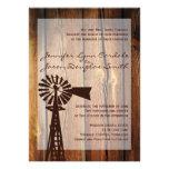 Rustic Country Windmill Wood Wedding Invitations Invite