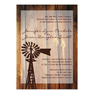 Rustic Country Windmill Wood Wedding Invitations