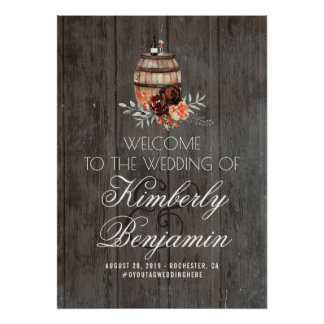 Rustic Country Wine Barrel Wedding Welcome Sign