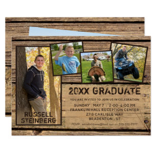 Save 60 on country graduation announcements limited time only rustic country wood 20xx graduate 5 photo invitation filmwisefo