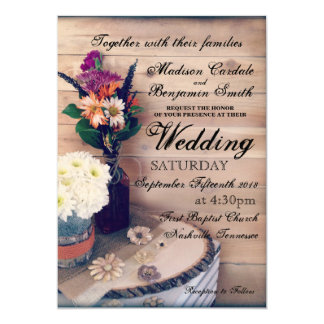 Rustic Country Wood and Flowers Wedding Invitation