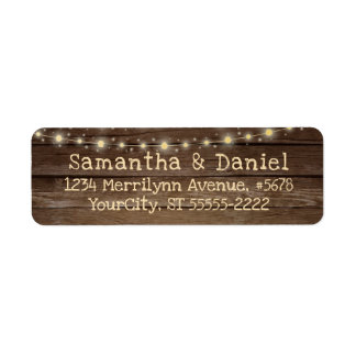 Rustic Country Wood and String Lights Label