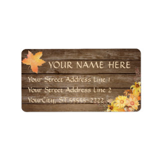 Rustic Country Wood and Watercolor Autumn Flowers Label