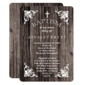 Rustic Country Wood Baby Girl Baptism Card
