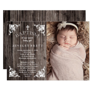 Rustic Country Wood Baby Girl Photo Baptism Card