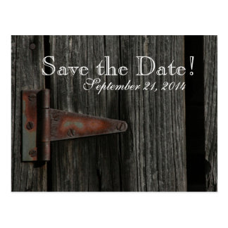 Rustic Country Wood Barn Door save the date Postcard