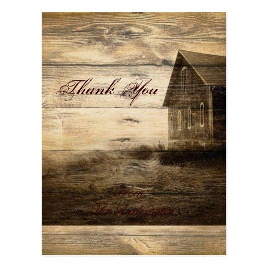 Rustic Country Wood Barn Wedding thank you Postcard