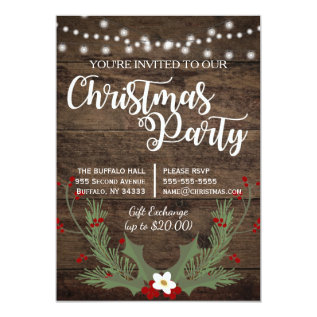 Rustic Country Wood Christmas Red Holly Card at Zazzle