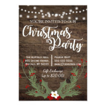 Rustic Country Wood Christmas Red Holly Invitation