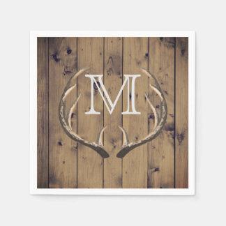Rustic Country Wood Deer Antlers Monogram Paper Napkin