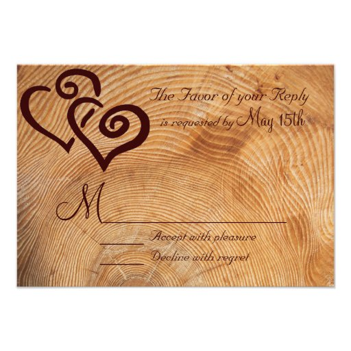 Rustic Country Wood Double Hearts Wedding RSVP Announcements