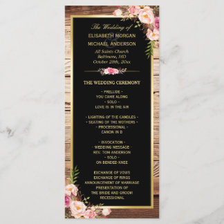 Rustic Country Wood Floral Wedding Program
