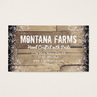 Rustic Country Wood Flourish Business Cards