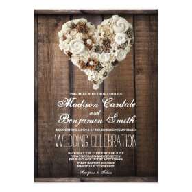 Rustic Country Wood Flower Heart Wedding Invites