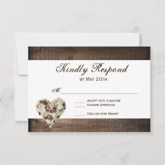 Rustic Country Wood Flower Heart Wedding RSVP Reply Card