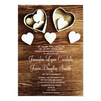 Rustic Country Wood Grain Hearts Wedding Invites