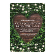 Rustic Country Wood Heart Twinkle Lights Wedding Invitations