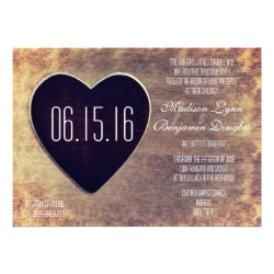 Rustic Country Wood Heart Wedding Invitations