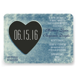 Rustic Country Wood Heart Wedding Invitations Blue