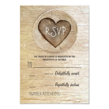 Valentines Themed Rustic country wood heart wedding RSVP cards