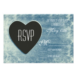 Rustic Country Wood Heart Wedding RSVP Cards Blue