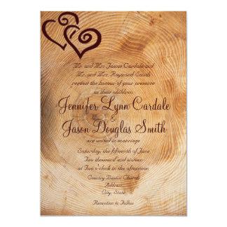 "Rustic Country Wood Hearts Wedding Invitations 5"" X 7"" Invitation Card"