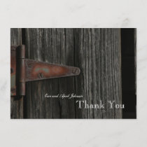 Rustic Country Wood Hinge Personalized Thank You