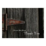 Rustic Country Wood Hinge Personalized Thank You Announcements