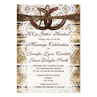 Rustic Country Wood Horseshoe Wedding Invitations Invites