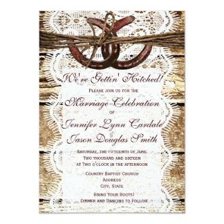Rustic Country Wood Horseshoe Wedding Invitations