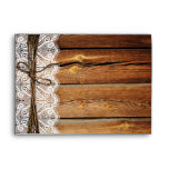 Rustic Country Wood Lace Twine Wedding Envelopes