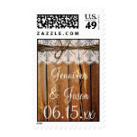 Rustic Country Wood Lace Twine Wedding Stamps