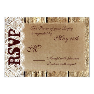 Rustic Country Wood Lace Wedding RSVP Cards
