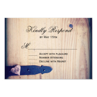 Rustic Country Wood Latch Wedding RSVP Reply Cards