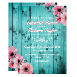 Teal wedding invitations announcements zazzle rustic country wood pink floral boho teal wedding invitation filmwisefo
