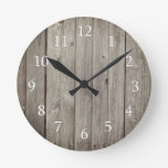 Rustic Country  Wood Planks Round Clock