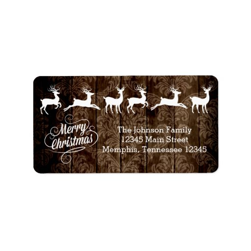 Rustic country wood reindeer merry christmas label zazzle