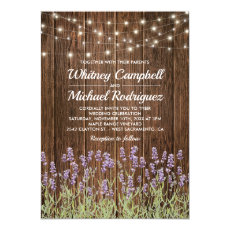 Rustic Country Wood String Lights Floral Wedding Invitation