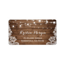 Rustic Country Wood String Lights Lace Wedding Label