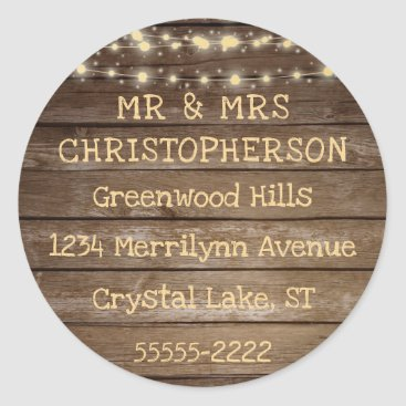 Wedding Themed Rustic Country Wood & String Lights Return Address Classic Round Sticker