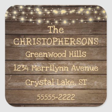 Wedding Themed Rustic Country Wood & String Lights Return Address Square Sticker