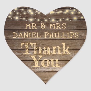 Wedding Themed Rustic Country Wood & String Lights Thank You Heart Sticker