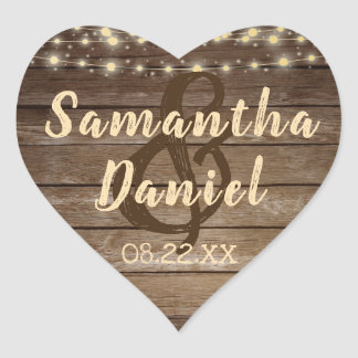 Rustic Country Wood & String Lights Wedding Heart Sticker