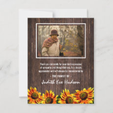 Rustic Country Wood Sunflower Funeral Photo Thank You Card
